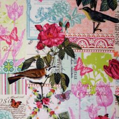 Micahel Miller fabrics, French Journal collection, Belle Rose in Pink.  #hawthornethreads.  This fabric reminds me of an old postcard.  It would look sweet as a #kindle cover.  $8.50/yd