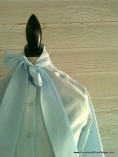 Vintage 80s Baby Blue SECRETARY Shirt by runaroundsuevintage, $24.00