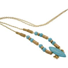 Sylvia Benson Gold and Turquoise Anderson Necklace