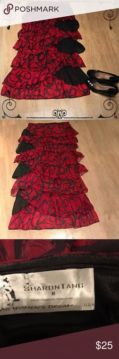 Sharon Tang Red and Black Layered Skirt This skirt is about ankle length on me (I'm 5'3). It's super light and comfortable! Also nice enough to wear to a holiday party!  *My listings include sales tax embedded in the price where applicable* Sharon Tang Skirts Midi