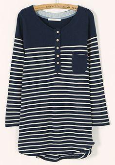 Blue Striped Patchwork Five Buttons Pockets Blend Sweater