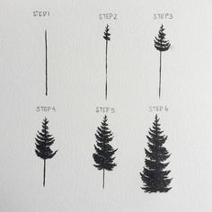 Pine Tree Painting, Easy Canvas Painting, Painting & Drawing, Drawing Trees, Trees Drawing Tutorial, Drawing Drawing, Tree Drawings Pencil, Easy Drawings, People Drawings