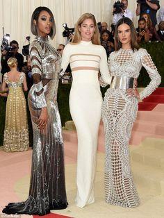 High-glamour girls! Jourdan Dunn, posed alongside Doutzen Kroes, and Alessandra Ambrosio a...