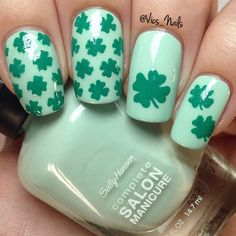 """""""St Paddy's day is coming up! I'm using @sallyhansennz Pardon My Garden and @modelsownofficial Emerald Green! Nail vinyls from The Vinyl Vault by…"""""""