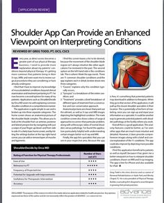 App Review! Shoulder App Can Provide an Enhanced Viewpoint on Interpreting Conditions by Reviewed by Greg Todd, PT, OCS, CSCS  Pinned by SOS Inc. Resources http://pinterest.com/sostherapy.