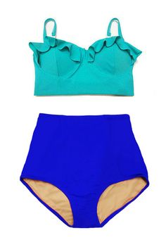 Mint Teal Midkini Padded Top and Blue Highwaisted High Waisted Waist High-Waist Slim Bottom Bikini Swimsuit Swimwear Bathing suit suits S M