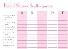Bridal Shower Scattergories