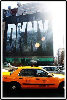 photograph by Dawn hollyman copyright   yellow cab DKNY Billboard Manhattan New York