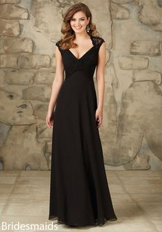 Sexy floor length long chiffon bridesmaid dress with lace cap sleeves.  Keyhole zipper back. 7793c3f76d