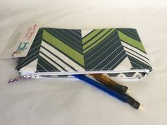 Zipper Bag, Green White and Gray Zipper Bag, Cosemtic Pouch Handmade, Chevron Print Make Up Pouch, Coin Purse, Small Makeup Bag by AmyReneeNicosia on Etsy