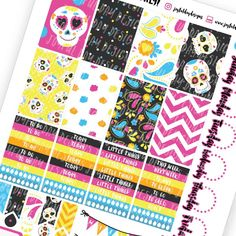 💀Day of the Dead💀 Sugar Skull 💀 Dia de Los Muertos 💀 Printable Happy Planner Stickers 👏🏼 Close up of the darling full boxes!