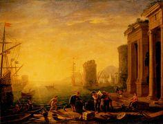 """Le Matin dans un port de mer (1649) Claude Gellée dit """"Le Lorrain"""" (Musée de l'Ermitage, Saint-Pétersbourg)"""