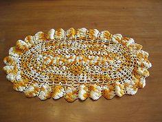 Vintage Crocheted Orange Oval Scalloped Hand Crocheted Cotton Doily Estate Item