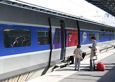 Train travel in France:  Boarding a high-speed TGV at Paris Gare de 'Est
