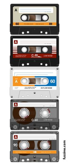 As you can see in the screens below each compact cassette is different and being that they are vectors you can easily change them to your designing needs