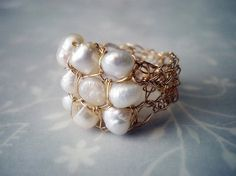 Crochet gold wire and pearls ring crochet wire ring 14k by Lilyja