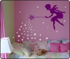 Fairy Wall Decal with Fairy Dust Star Wand - Fairy wall decor Choose your color! from WallCrafters on Etsy Fairy Nursery, Fairy Bedroom, Kids Bedroom, Nursery Decor, Room Decor, Nursery Sets, Tree Bedroom, Forest Bedroom, Forest Nursery
