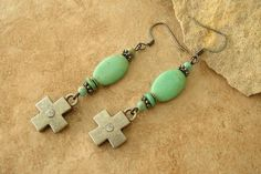 Boho Rustic Turquoise Cross Earrings Green by BohoStyleMe on Etsy