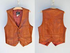 Leather Vest - Men's Leather Vest - Women's Leather Vest - Unisex Leather Vest - Western Native American - Southwestern Navajo - Size S - M by ItaLaVintage on Etsy