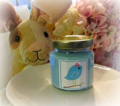 Blue Bird Soy Candle Shower Favor Baby Girl by GoodNeighborsCandle, $4.00