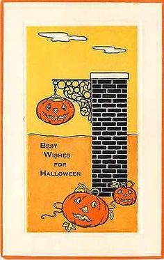 Halloween 1908 Jack o Lanterns Best Wishes Collectible Antique Vintage Postcard