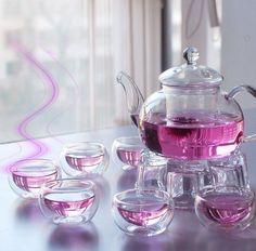 Glass Teapot set Heart resistant with filter double wall tea cup Kongfu flower glass tea set pote de vidro Chinese Tea Set, Tee Set, Glass Teapot, Tea Pot Set, Flower Tea, How To Make Tea, High Tea, Afternoon Tea, Tea Time