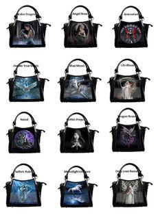 Anne Stokes 3D Fantasy Design Shoulder Bag / Handbag in Shinny Black Patent