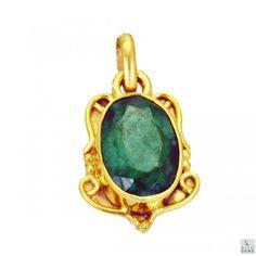 Riyo Awful Indi Emerald 18kt Gold Plated Copper Green Pendant Gppiem-32035