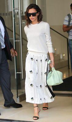 Victoria Beckham In Crisp White Sweater & Print Skirt | NYC.