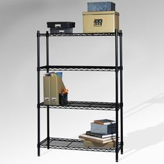 "Shelf Steel Wire Shelving Kit Size: 54"" by Sensible Storage. $55.52. Black. Sensible Storage. Wire Shelving Units. 21436. From the Manufacturer                Focus Products Group #21436 Black 4 Tier Shelf Rack                                    Product Description                This multipurpose 4-tier shelving unit is versatile enough for practically every room in the house. Use it to free up counter space in the kitchen, as an entertainment center in the rec ..."