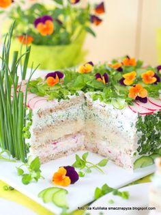 tort_warstwowy_z_chleba_i_twarozku Appetizer Recipes, Appetizers, Salad Dishes, Sandwich Cake, Gateaux Cake, Snacks Für Party, Pastry And Bakery, Easter Brunch, Wrap Sandwiches