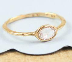 White Rose Cut Diamond Ring,  Engagement Ring, 14K Gold Solitare Diamond Ring, Diamond Ring, Organic Engagement Ring. $1,100.00, via Etsy.