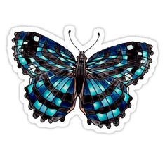 """Blue Myscelia Ethusa Butterfly "" Stickers by Scribblestudio"