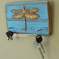 Hand-Made Yellow and Blue Dragonfly Key Holder or Jewelry Holder Wall Hanging - $20.00