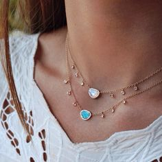 14kt gold and diamond opal drip necklace – Luna Skye by Samantha Conn