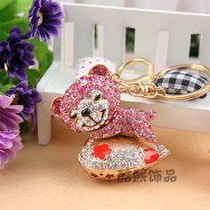Rhinestone chaveiros car pendant bear keychain bag buckle girlfriend gifts  wholesale
