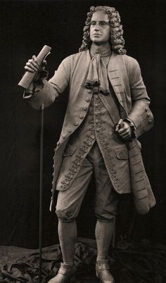 The seven foot General Oglethorpe sculpture monument is located in downtown Augusta, Georgia. Oglethorpe is represented as a statesman who founded the state of Georgia.