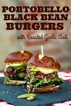 Smoky Portobello Black Bean Burgers with Roasted Garlic Aioli The BEST Veggie Burger around Vegan Dinner Recipes, Vegan Dinners, Whole Food Recipes, Vegetarian Recipes, Cooking Recipes, Vegetarian Lifestyle, Cooking Time, Vegan Vegetarian, Healthy Recipes
