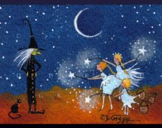 The Power of Three  a tiny Halloween Witch Fairy Trick or Treat PRINT  from the original by Deborah Gregg