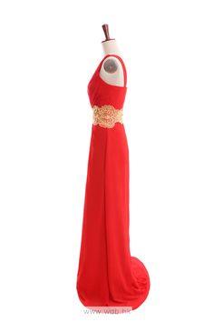 Natural waist sweep/brush train sleeveless chiffon elegant bridesmaid gown $142.8