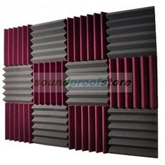Soundproof Store 4492 Acoustic Wedge Soundproofing Studio Foam Tiles, 2 X 12 X Pack of 12 (Charcoal Black and Burgundy Maroon) Soundproof Panels, Soundproofing Material, Soundproofing Walls, Studio Foam, Hollow Core Doors, Acoustic Panels, Sound Proofing, Game Room, Decoration