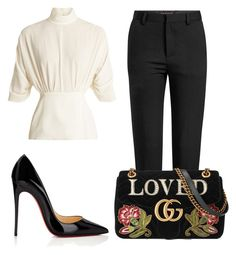 """""""Sem título #8786"""" by ana-sheeran-styles ❤ liked on Polyvore featuring Emilia Wickstead, Y/Project, Christian Louboutin and Gucci"""