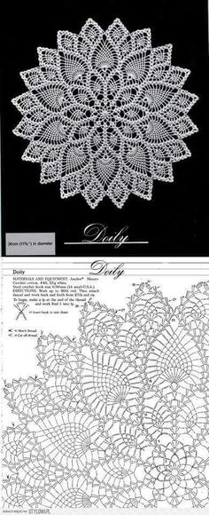 Crochet patterns diagram crocheted round doily with lace katharina bernklau bernklau deck Free Crochet Doily Patterns, Crochet Doily Diagram, Lace Knitting Patterns, Crochet Circles, Crochet Round, Crochet Chart, Thread Crochet, Crochet Motif, Crochet Designs