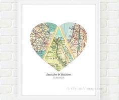 Map Heart Art Unique Wedding Gift for Couple by ArtPrintsVintage