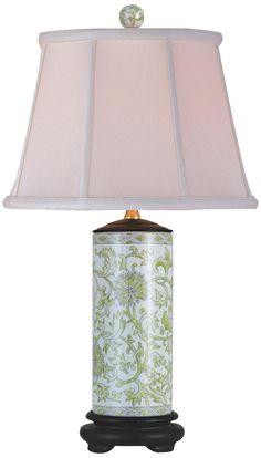 Lemon Green Porcelain Cylinder Vase Table Lamp -