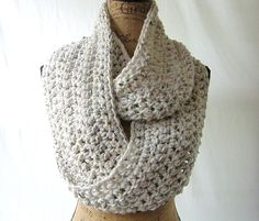 New Tweed Ivory #Black Brown Oatmeal Cowl Scarf Fall Winter Women's #Accessory Infinity by SouthernStitchesCo - Found on HeartThis.com @HeartThis | See item http://www.heartthis.com/product/362416831654274163?cid=pinterest