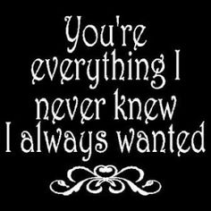 You're everything I never knew I always wanted.