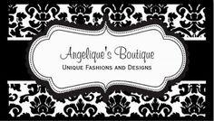 Elegant Black and White Damask Boutique Scalloped Frame Business Cards http://www.zazzle.com/elegant_gold_and_ivory_paisley_damask_pattern-240583613809481470?rf=238835258815790439&tc=GBCDamask1Pin An elegant black and white vintage damask pattern business card that it perfect for unique fashion and clothing boutiques. Personalize the front of this design with the name of your business and tagline.