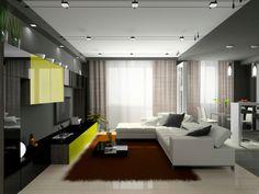 Dunkles Wohnzimmer Mit Schwarze Mauer Weisse Schnittsofa Und Weissen Boden Rubin Roter Teppich