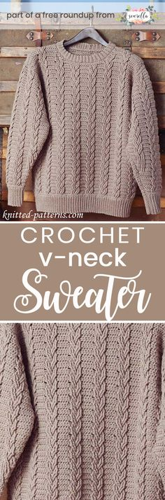 Husband-Approved Free Crochet Sweater Patterns Get the free crochet pattern for this Crochet Mens Cabled Pullover Sweater from Knitted Patterns featured in my husband-approved crochet sweaters for men FREE pattern roundup! Moda Crochet, Pull Crochet, Free Crochet, Knit Crochet, Crochet Sweaters, Beginner Crochet, Crochet Stitches, Crochet Tops, Crotchet